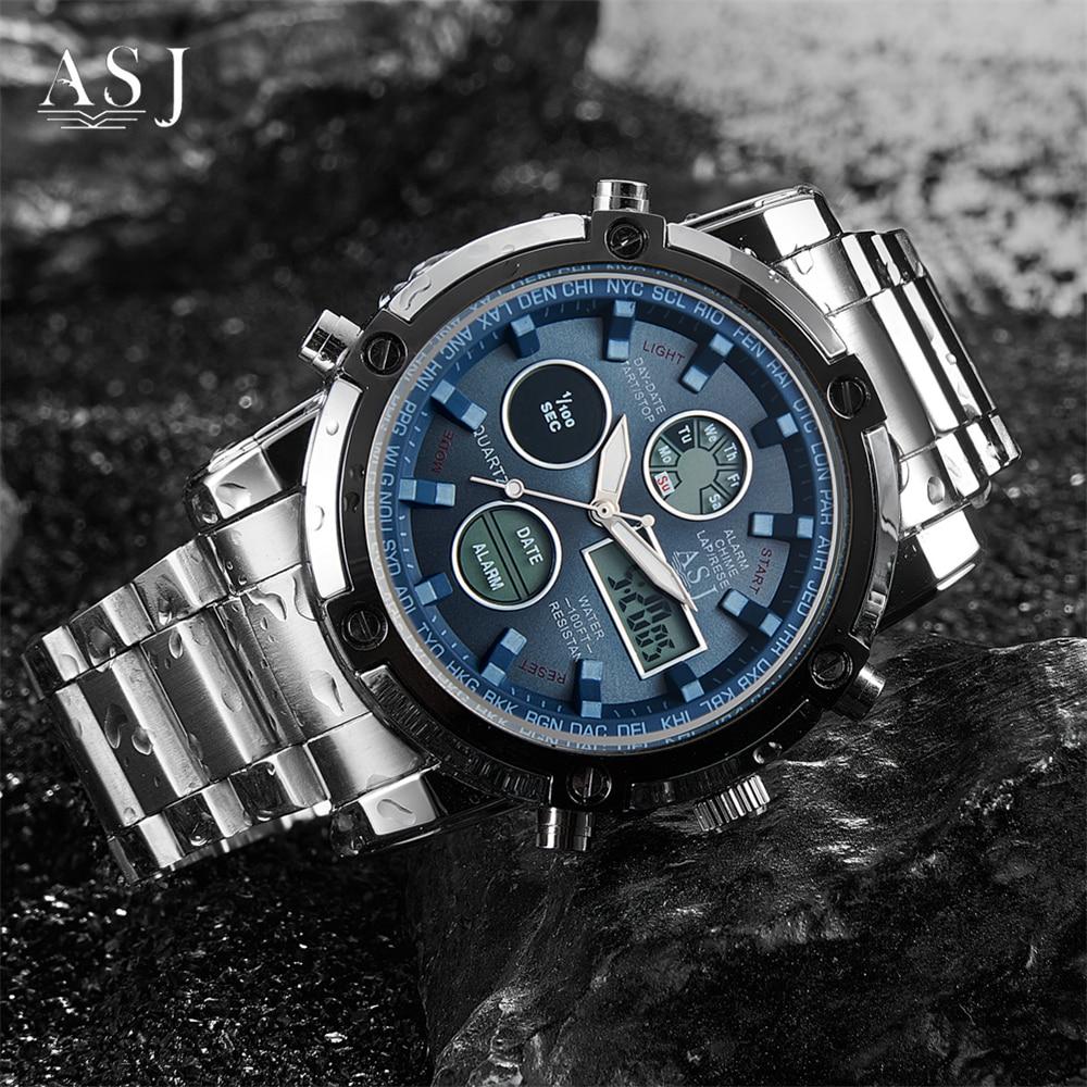 Men Stainless Steel Watch Quartz Watch Chronograph Waterproof Sports Army Military Wristwatch