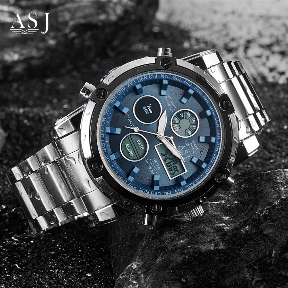 Mens Watches Top Luxury Brand ASJ Men Stainless Steel Watch Quartz Watch Chronograph Waterproof Sports Army Military WristWatch