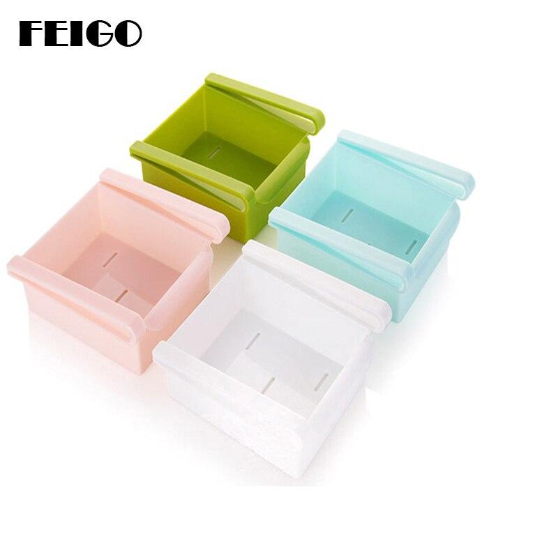 Feigo geladeira caixa de armazenamento eco-friendly cozinha rack geladeira freezer prateleira titular pull-out gaveta organizador espaço saver f110
