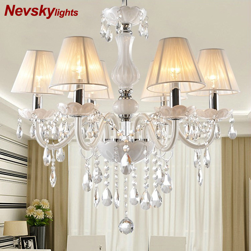 New Modern lustres de cristal Branco para Sala de estar Quarto lâmpada interior K9 lustres de teto de cristal lustre de teto