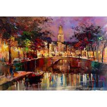 Современное искусство, пейзаж картины маслом канал в Утрехт Willem haenraets холст ручная роспись стены высокого качества изображения