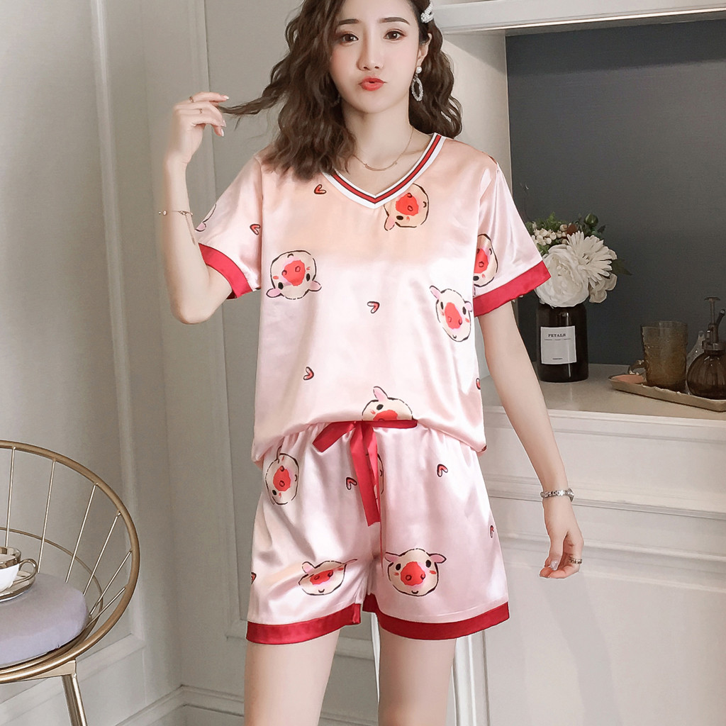 Summer Sleepwear Set Cute Pig Print Women Sexy Lingerie Nightwear Short Sleeve Sleepwear Short Pajama Sets Pigiama Donna