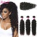 Brazilian Virgin Hair With Closure 3 Bundles With 1PC Lace Closure 7A Deep Curly Cheap Brazilian Deep Wave Human Virgin Hair 1B