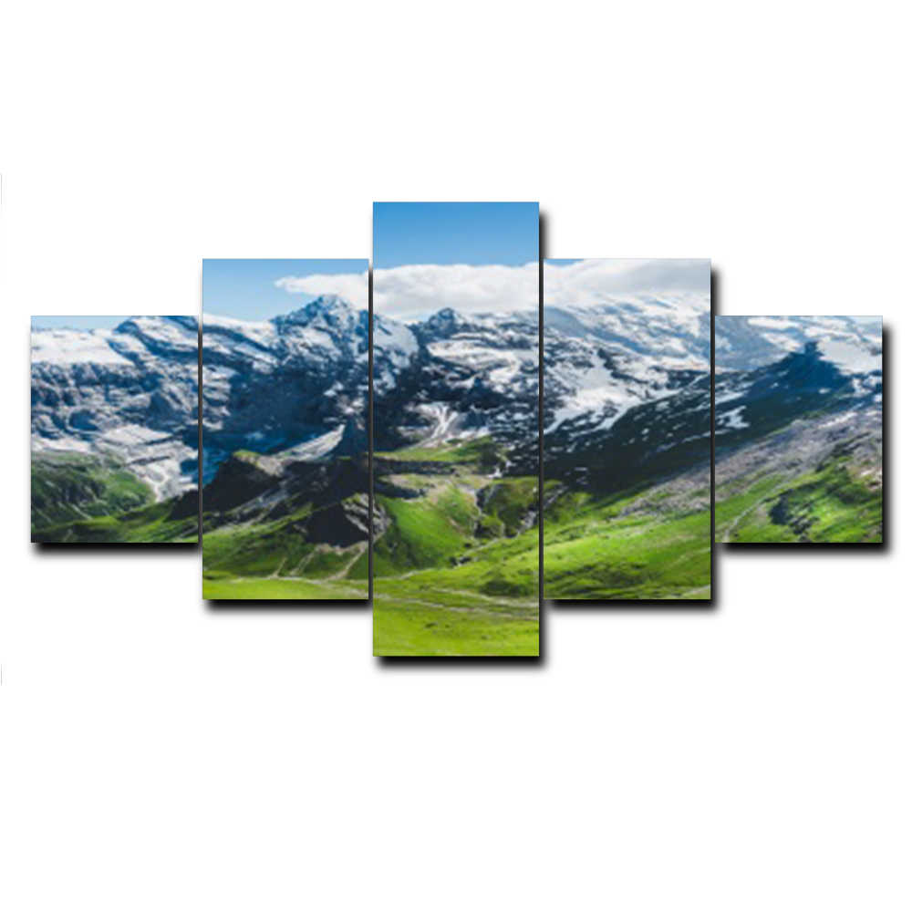 5 Panel Winter Snow Mountain Posters and Prints Modern Wall Art Canvas Painting Living Room Bedroom Wedding Home Decor No Frame
