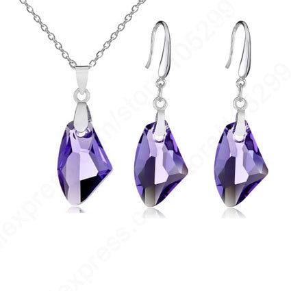 Ensemble de bijoux cristal autrichien 925 ensemble de bijoux en argent Sterling pincement Bail boucle doreille pendentif collier bricolage ensembles 18