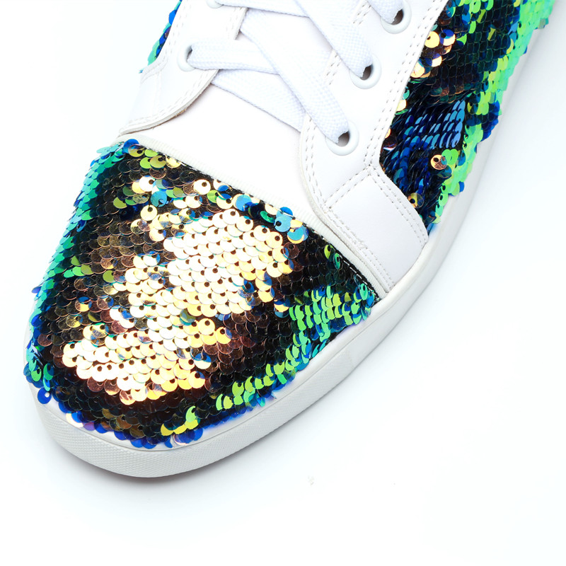 Qianruiti 2019 Men Bling Sequins Sneaker Lace up Flat High Top Shiny Shoes  Men Runway Chaussure Hommes Plus Size EU39 47-in Men s Casual Shoes from  Shoes on ... 99042478985e