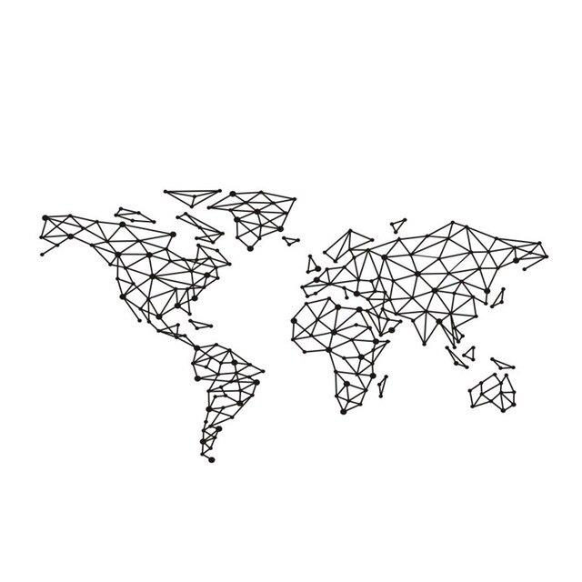 art wall sticker carte du monde sp cial g om trique design. Black Bedroom Furniture Sets. Home Design Ideas