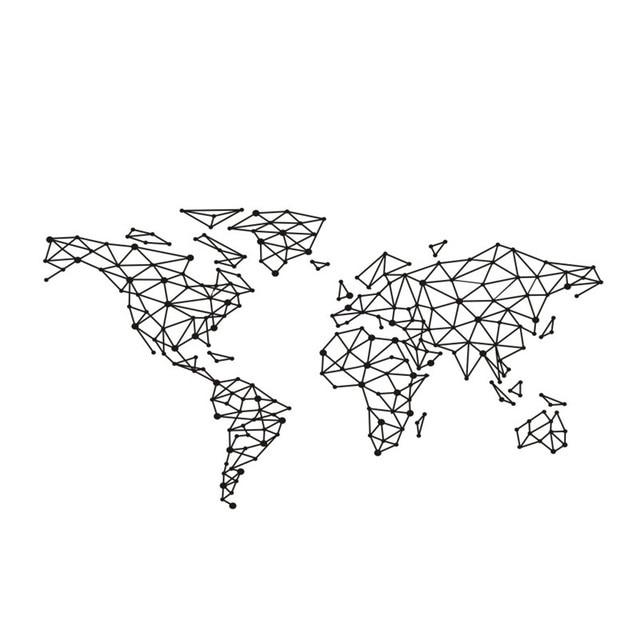 Art Wall Sticker Special World Map Geometric Design World Map Wall