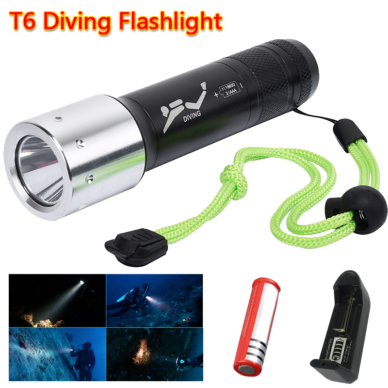 New Flashlight With battery and charger Professional LED Torch 2100LM CREE T6 Underwater ...