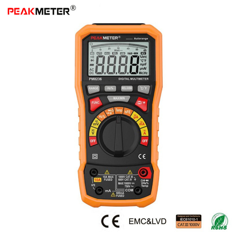 PEAKMETER PM8236 Auto Manual Range Digital Multimeter with TRMS 1000V Temperature Capacitance Frequency Voltage Current Tester my68 handheld auto range digital multimeter dmm w capacitance frequency