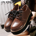 LIN KING Vintage British Style Platform Shoes for Women Spring Lace Up PU Leather Low Top Round Toe Simple Design Single Shoes