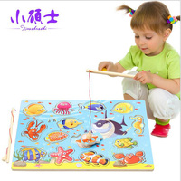 New Baby Wooden Magnetic Fishing Game 3D Jigsaw Board For Children Kids Interesting Early Educational Puzzle