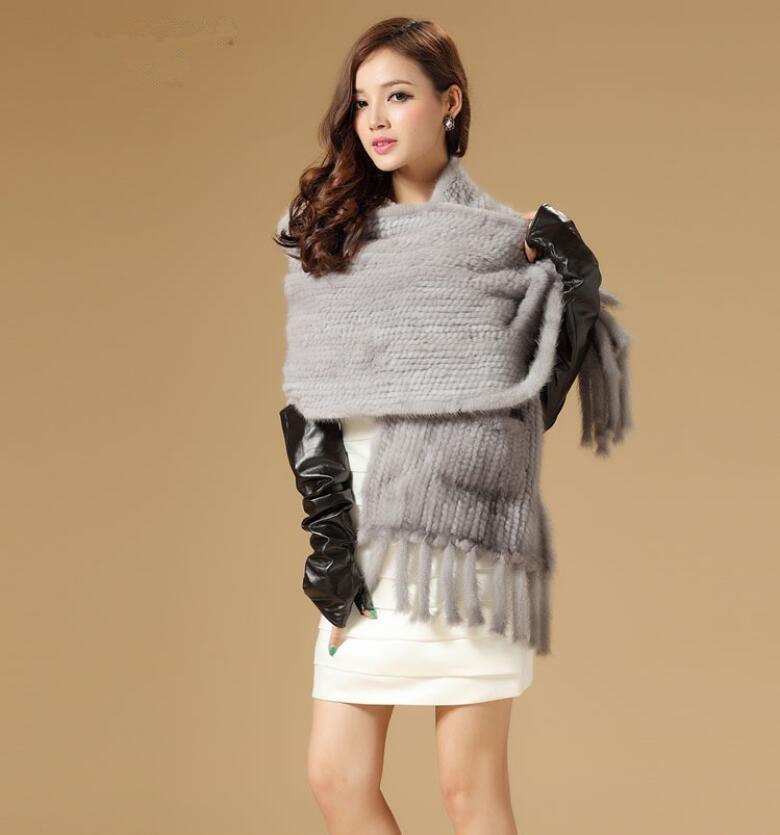 De luxe automne hiver dames blanc gris brun étole de fourrure avec le gland et poche. tricotés à la main natual fourrure de vison tricoté écharpe S27