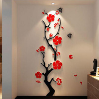 Plum Blossom Tree 3d Acrylic Wall Decor Room Sofa TV Decal Wall Stickers Home Decal Wall