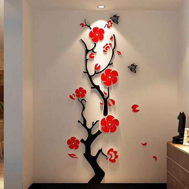 Plum blossom tree 3d acrylic wall decor room sofa TV decal wall ...