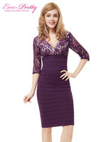 HE03783BK Free Shipping Sexy 3 4 Sleeve Double V Neck Lace Ruched Bottom Lace Sleeve Cocktail