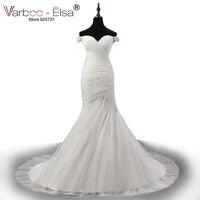 VARBOO ELSA Luxury Pearl Beaded White Lace Wedding Dress 2017 Romantic Sweetheart Mermaid Chapel Train Bridal