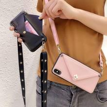 wallet card case for iphone XS MAX XR X 8 7 6s 6 plus cover luxury flower envelope shoulder strap phone bag capa fundas