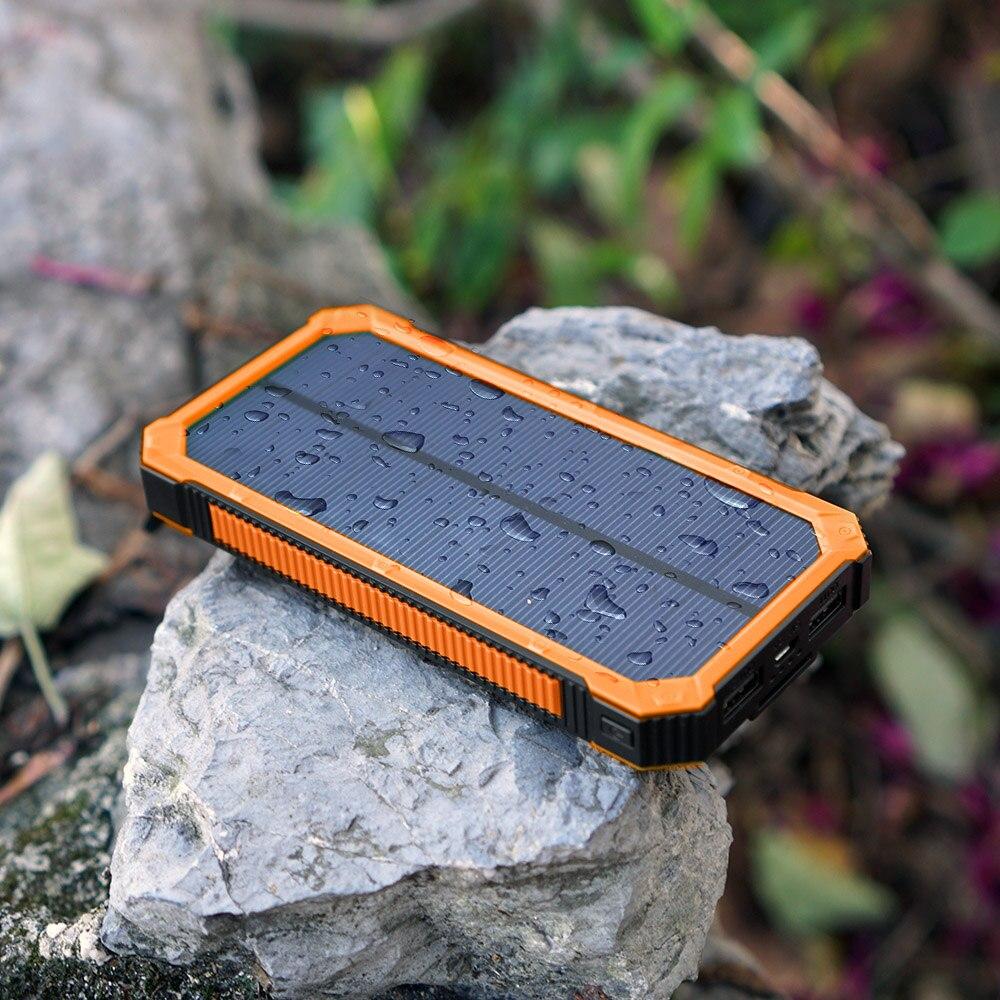 bilder für Tragbare solar-ladegerät power bank 15000 mah mit led-lampe für iphone samsung htc nexus ipad yoga tab und mehr