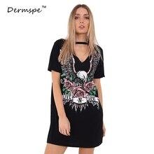 2018 Повседневное Для женщин летние платья Черный колье принтом Cut Out v-образным вырезом платье-майка женские короткий рукав Цельнокройное платье-футболка