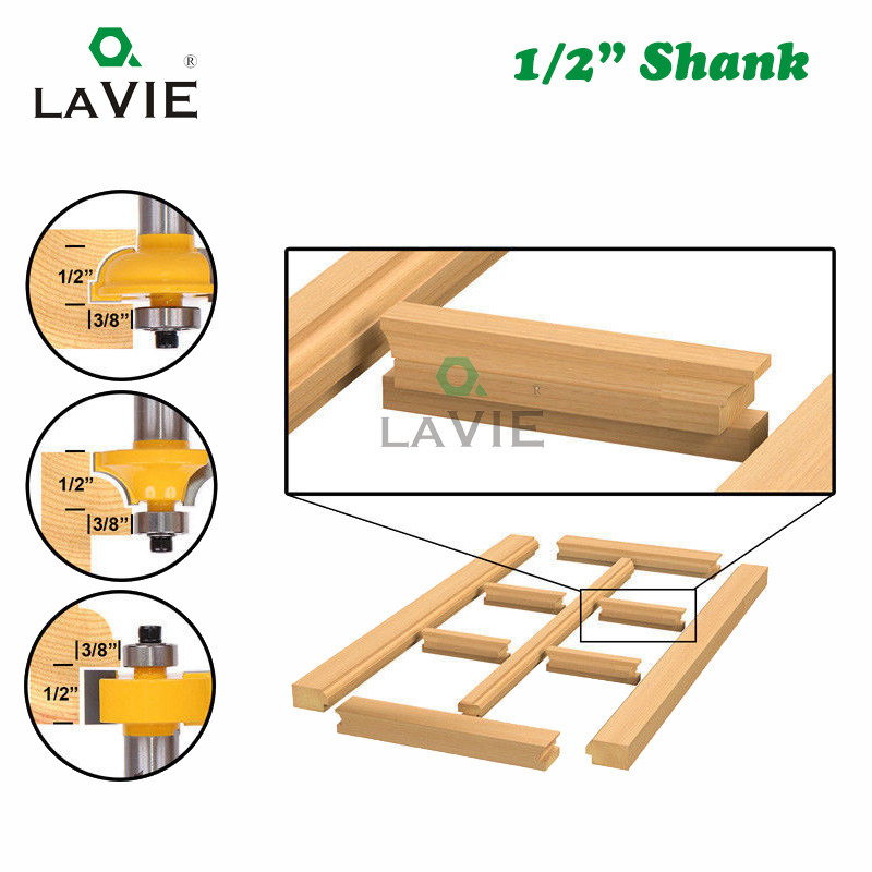 "Image 3 - 3pcs 12mm 1/2"" Shank Router Bits Set Beading Bit Round Over Bead Frame Door T V Shape Milling Cutter For Wood Power Tools 03028tool bit setwoodworking setwoodworking router bit set -"