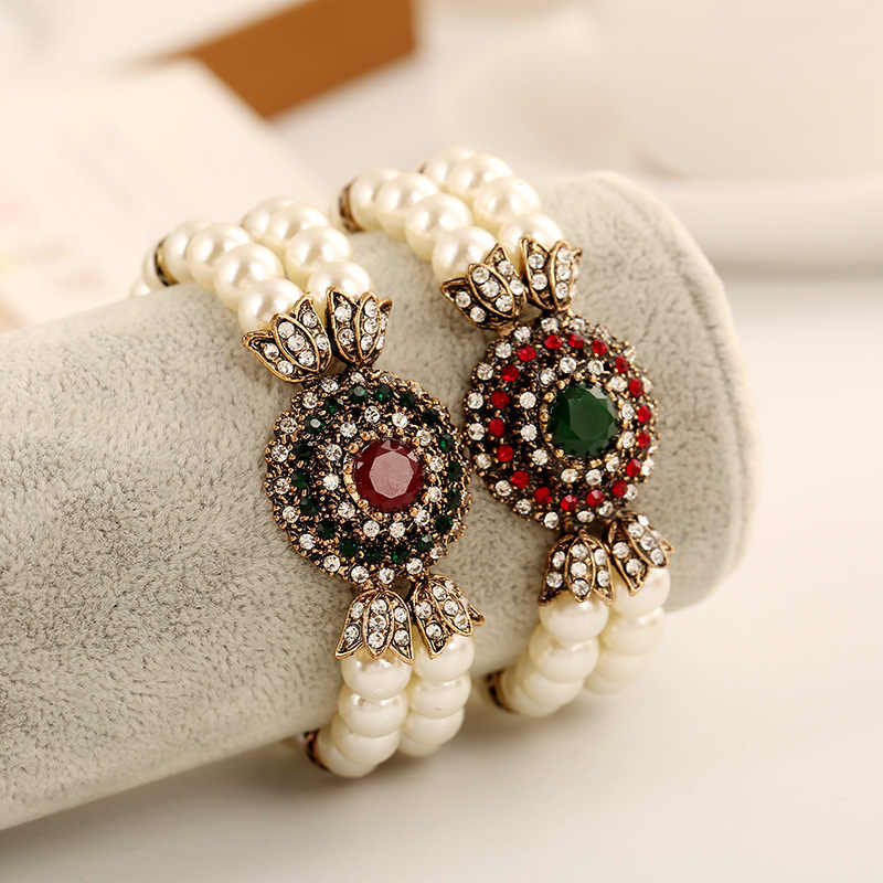 Turkish Jewelry Vintage Bracelet Femme Red Green Resin Round Crystal Imitation Pearls Beads Strand Bracelets & Bangles Pulsera