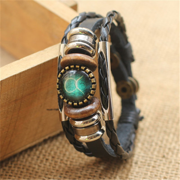 Fashion Punk Men Jewelry 12 Horoscope Leather Bracelet Retro Wooden Bead Charm Bracelet Female Male Jewelry Gifts Wholesale 3