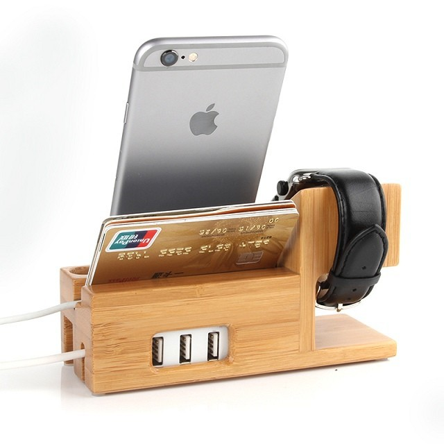 New Wooden Charger Dock For Le Watch Iwatch Wood Stand Mobile Holder Iphone 6