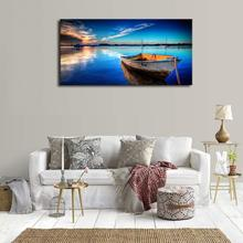 Boat Blue Lake Water Sunset Nature Canvas Wall Art Print Seascape Artwork Picture for Home Office Decor Large Prints