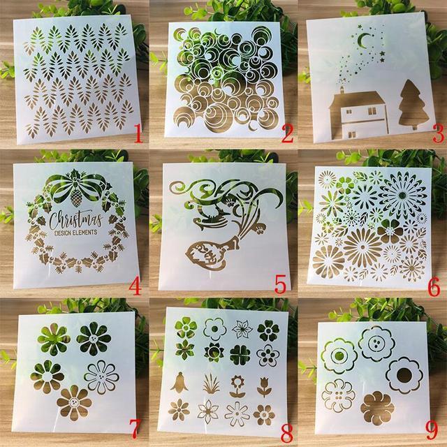 9 Types Sunflower Layering Stencils for DIY Scrapbooking Photo Album Decoration Cake Hollow Embellishment