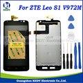 1 pcs para zte leo s1 v972m v972 display lcd + touch screen digitador assembléia substituição + ferramentas
