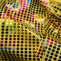 HDF04 100 150CM Colored Dot Yellow Flash Fabrics Mermaid Scale Gilded Fabric Stage Suit For Children