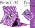 Envío gratis Polka Dot Dot Wave Cubierta Elegante de Cuero Magnética de La Piel wake up/sleep caso de la cubierta para el ipad 2/3 o ipad 4 caso