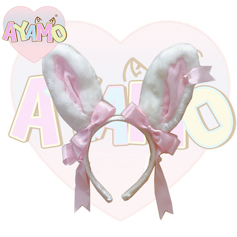 Handmade Lolita Girls Rabbit Ear Hair Cute Costume Party Headband Bunny Rabbit Ear Hairband Hair Clip Band Accessories