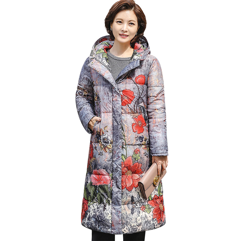 Winter   parkas   middle aged female print Down cotton jacket Plus size 5XL Thicken coat Hooded tops women warm Cotton-padded jacket