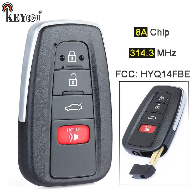 KEYECU 314.3MHz 8A puce HYQ14FBE remplacement Smart 3 + 1 4 bouton proximité télécommande voiture porte-clés pour Toyota Avalon 2019