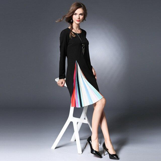Long Sleeve Black Pleated Knit Shift Dress Plus Size Women Clothing