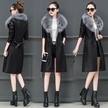 Winter Women Long Type Korean Thicken Warmth Slim Zipper Detachable Fur Collar Leather Coats Jackets