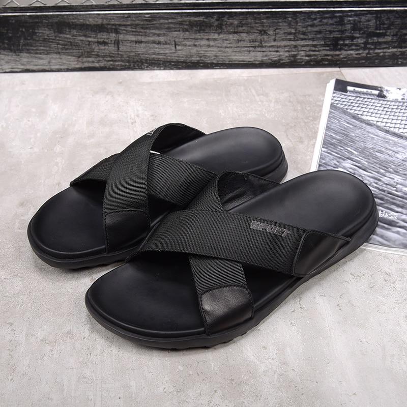 2018 Zomer Schoenen mannen Slippers Maat 38 44 Strand Sandaal Mode Mannen en Vrouwen Sandalen Lederen Koeienhuid Casual schoenen Flip Flop - 5