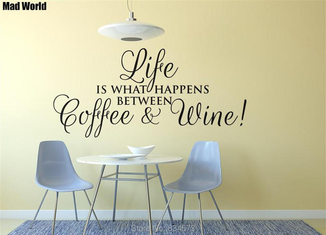 Mad World Coffee Wine Cafe Kitchen Quote Wall Art Stickers Wall ...