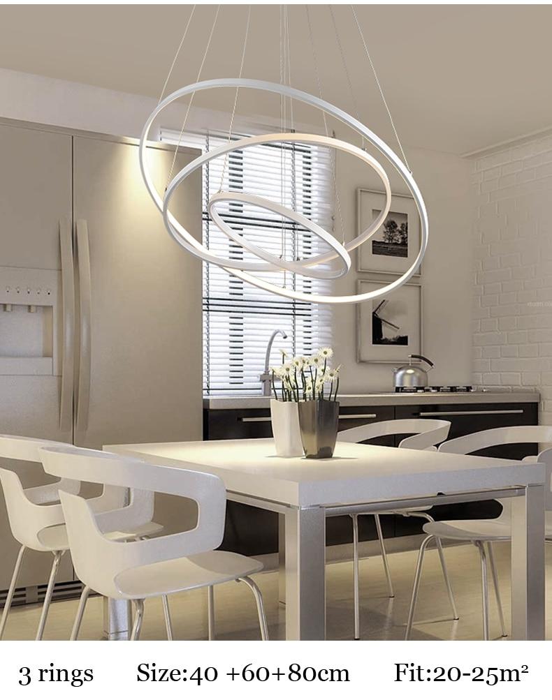 ᗑ5/4/3/2/1 anillos círculo moderno LED colgante de luz para comedor ...