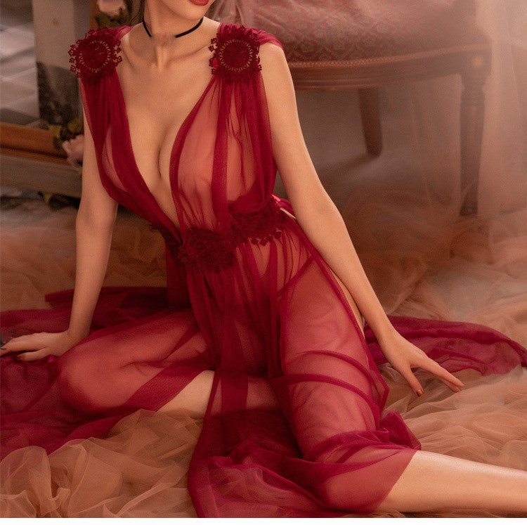 2019 Sexy Gauze Lace Embroidery Sheer Long Night Dress   Nightgowns     Sleepshirts   Women Nightwear