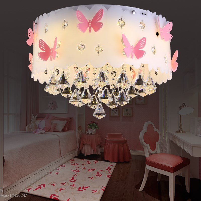 Round Bedroom Ceiling Lamp Crystal Pink Butterfly Girl