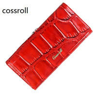 New Split Leather Women Wallets Long Leather Purse Famous Designer Female Wallets High Quality Brand Clutch