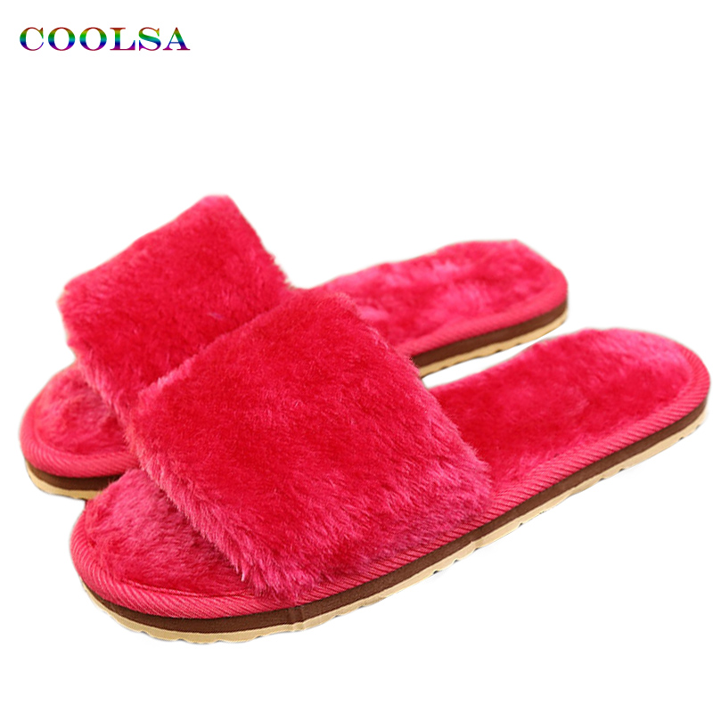 Coolsa Hot Sale Women Plush Slippers Fluffy Fur Slides Feather Flat Soft Hotel Flip Female Cute Casual Indoor Floor Warm Shoes tangnest sweet coral velvet women s slippers new cartoon fur floor slippers female soft plush indoor shoes size 36 41 xwt855