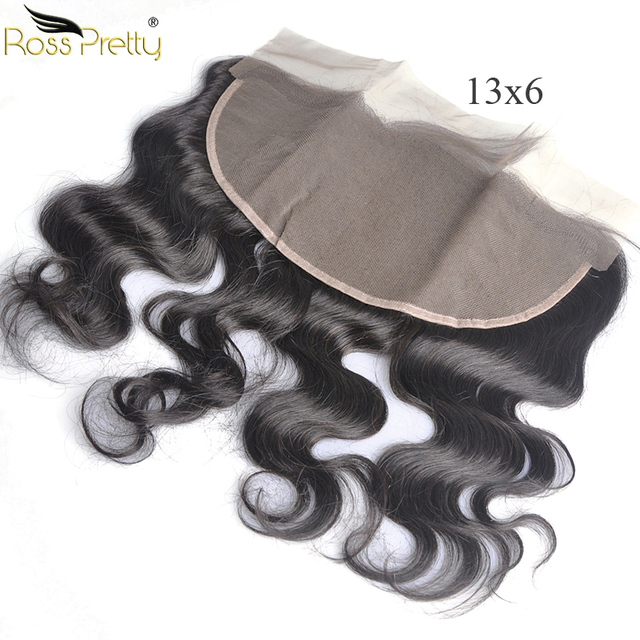 Ross Pretty Remy Peruvian Straight lace Frontal Baby Hair Lace Front Closure 13X6 Free Part and Middle Part Pre Plucked
