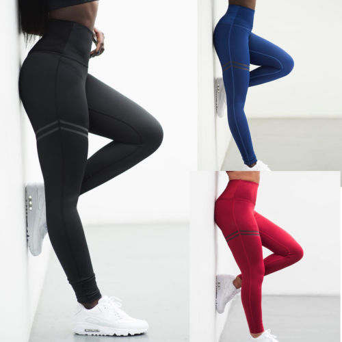 2018 Women High Waist Fitness   Leggings   Stretch Solid Ankle Length Fashion Print Trousers Black Red Blue