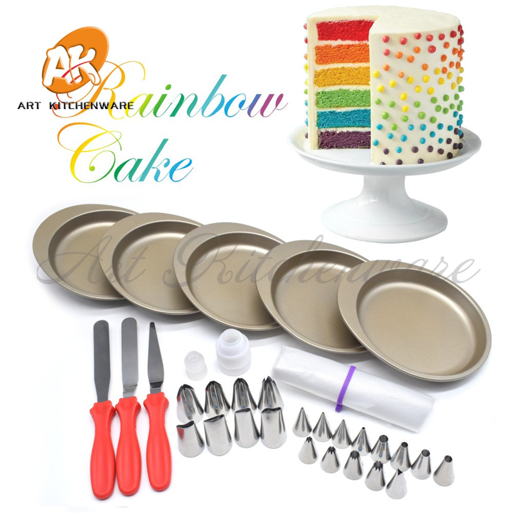Rainbow Cake Pan Baking Tools for Cakes 21pcs Icing Pastry Nozzles Piping Tools Decoration Cake Bakeware Set Pastry SpatulaRCK-5