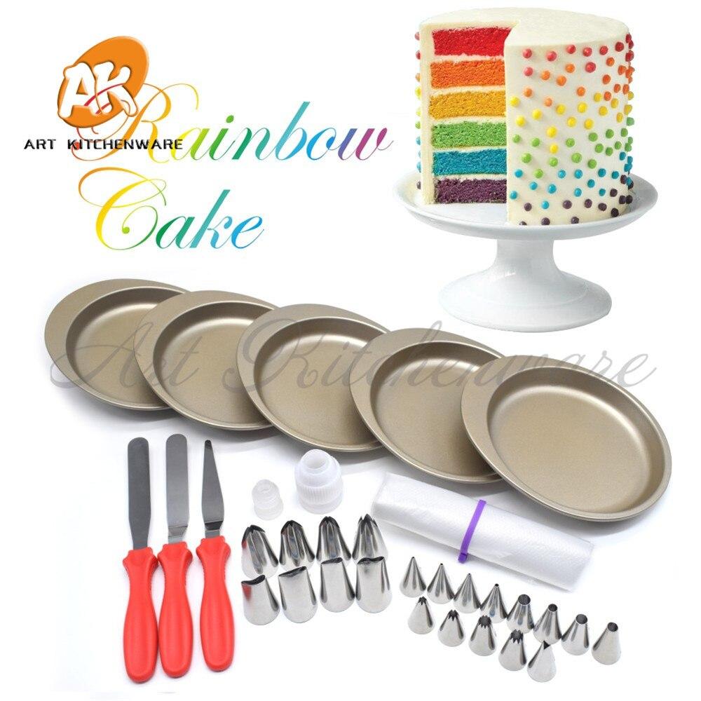 Arc-en-ciel gâteau Pan outils de cuisson pour gâteaux 21 pièces glaçage pâtisserie buses tuyauterie outils décoration gâteau ustensiles de cuisson ensemble pâtisserie SpatulaRCK-5