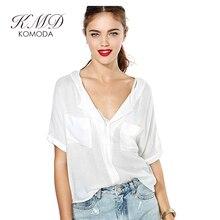 KMD KOMODA Sheer Sexy Blouse Shirt Women Deep V Neck Casual Top Office Ladies Elegant Basic Brief Blouses Female